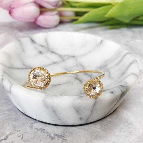 Double Crown Diamond Crystal Bangle