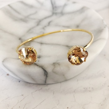 Golden Champagne and Topaz Crystal Bangle
