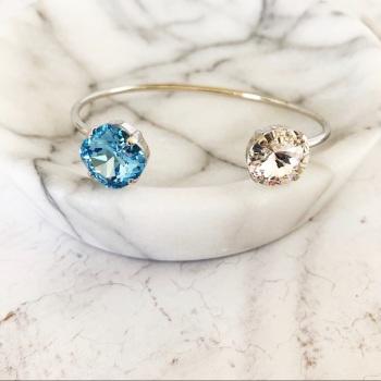 Aquamarine and Diamond Crystal Bangle