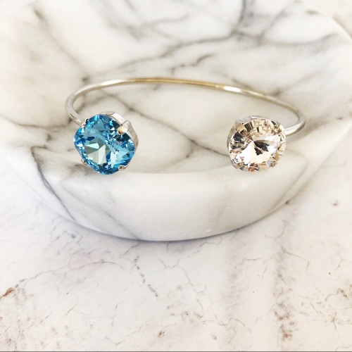 Aquamarine and Diamond Crystal Bangle