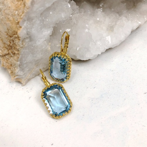 Aquamarine Octagon Crown Earrings