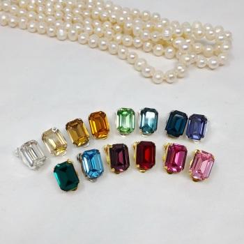 Octagon Crystal Clip On Earrings