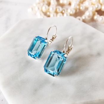 Aquamarine Octagon Crystal Earrings