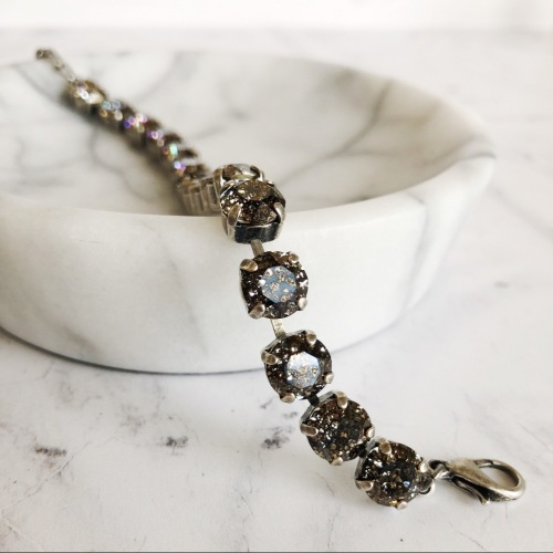 Black Patina Medium Crystal Tennis Bracelet