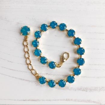 Caribbean Blue Opal Small Crystal Tennis Bracelet