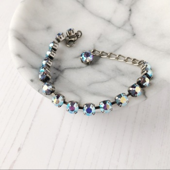 Light Blue Small Crystal Tennis Bracelet