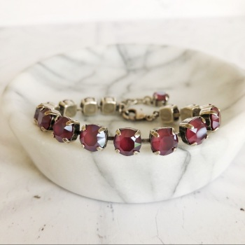 Dark Red Medium Crystal Tennis Bracelet