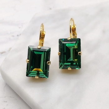 Green Erinite Step Cut Earrings