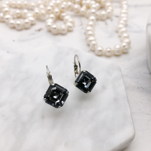 Grey Black Diamond Crystal Imperial Earrings