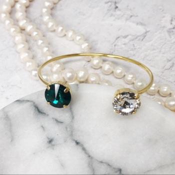 Emerald and Crystal Bangle