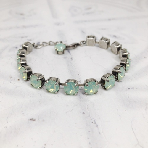 Pale Green Mint Opal Medium Crystal Tennis Bracelet