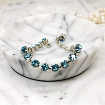Aquamarine Small Crystal Tennis Bracelet