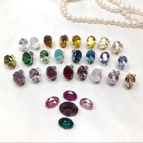 Oval Crystal Clip On Earrings