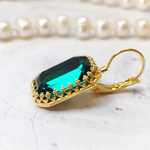 Emerald Green Octagon Crown Earrings