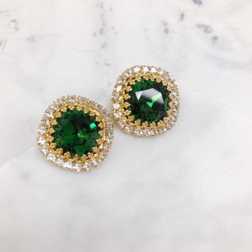 Dark Moss Green Crown Stud Earring
