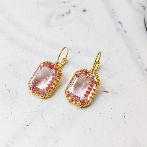 Rose Pink Octagon Crown Earrings