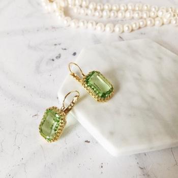 Peridot Green Crystal Crown Earrings