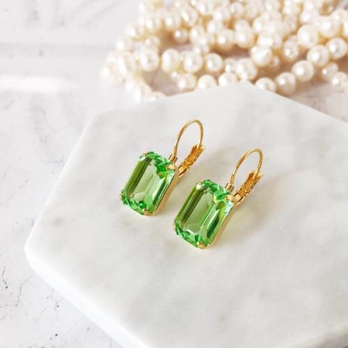 Peridot Green Octagon Crystal Earrings