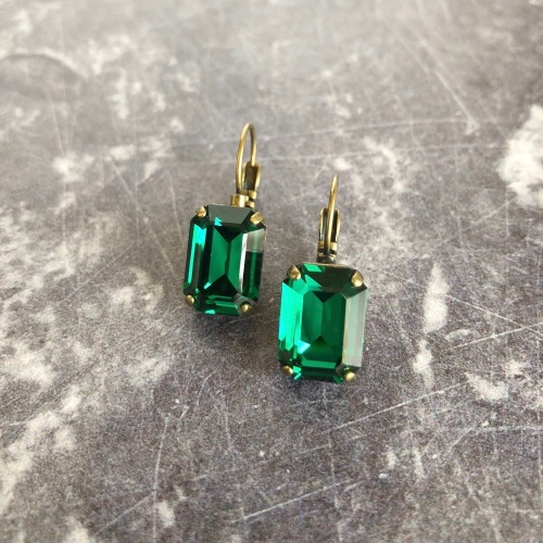 Emerald Green Octagon Crystal Earrings