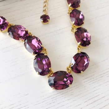 Amethyst Crystal Collet Necklace