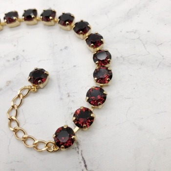 Burgundy Medium Crystal Tennis Bracelet