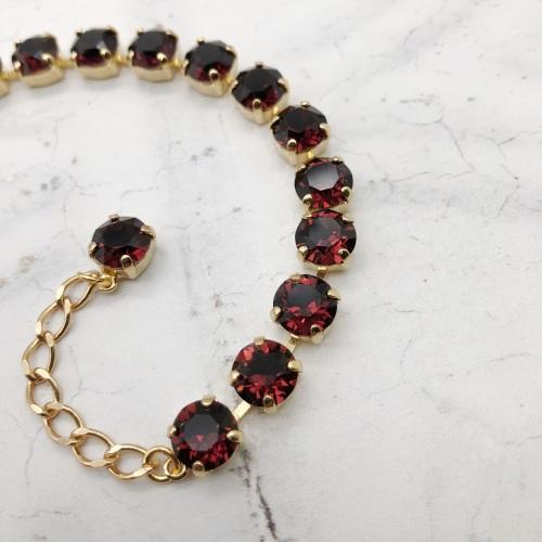 Burgundy Medium Crystal Tennis Bracelet