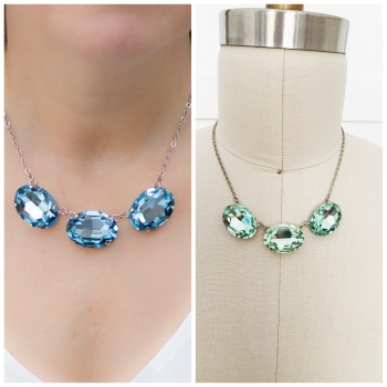 Large Aquamarine or Chrysolite Triple Oval Necklace