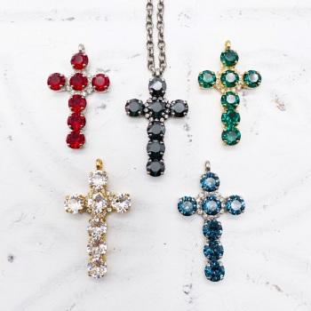 Cross Pendant - Ruby, Emerald, Hematite, Crystal, Sapphire