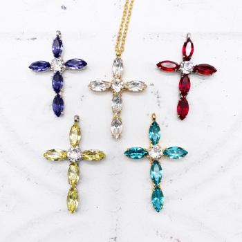 Navette Cross Pendant - Ruby, Tanzanite, Turquoise, Jonquil, Crystal