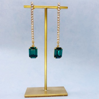 Emerald and Diamond Long Drop Crystal Earrings