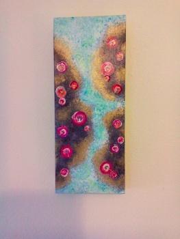 Ruby Sea Bubbles Rocks and Pools - Original Art