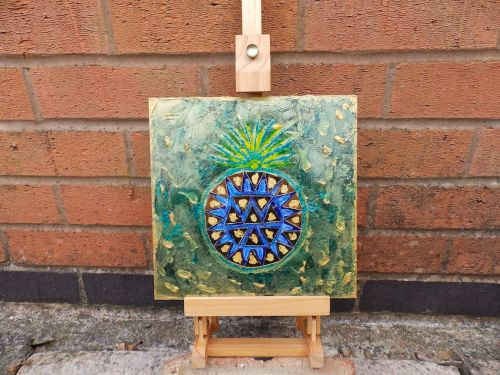 Blue Gold Pineapple - One of a Kind by Janet watson Art