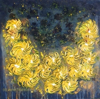 Horseshoe Golden Yellow Flowers - Spinning Flowers Collection by Janet Watson Art :)