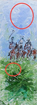 Polocrosse Players - Equine Sport Collection by (c) Janet Watson Art - ***Found a horses head in sky and in grass when painting was drying*** :) Origi