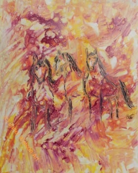 Three - Horses Collection by Janet Watson Art, size 20 x 16 cm, original art, mixed media