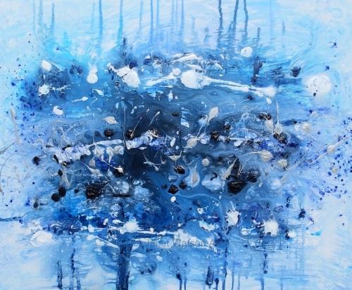 Deep Blue Space - Original Art - Acrylic and Mixed media - Size; 32 x 40 x