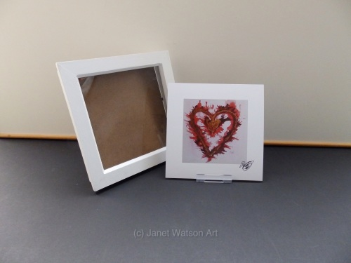 Signed Print Only - Red Gold Energy Heart by (c) Janet Watson Art