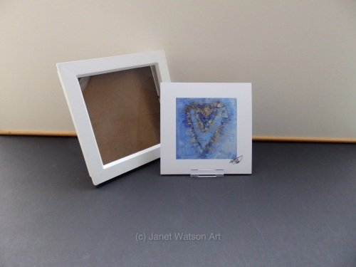 Signed Print Only - Blue and gold energy hearts by (c) janet Watson Art