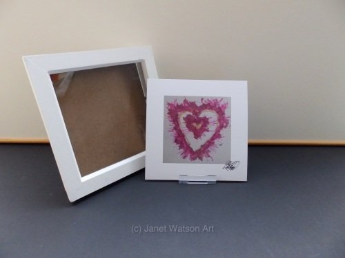 Signed Print Only - Bright Pink and gold Energy Hearts (c) Janet Watson Art