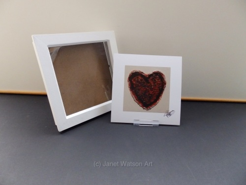 Signed Print Only - Red Gold Crystal Heart collection by (c) Janet Watson A