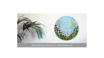 Round Meadow - Poppy Collection - 30cm Round Canvas- Acrylic and mixed media - Original Art by (c) Janet Watson Art