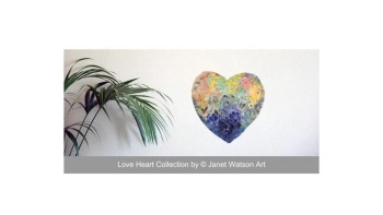 Round Love - 30cm Round Heart Canvas- Acrylic and mixed media - Love Heart Collection - Original Art by (c) Janet Watson Art