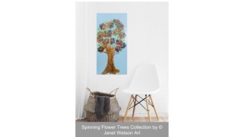 Dancing Bright - Spinning Flower Trees Collection - 30 x 60 cm Deep canvas - Acrylic and mixed media - Original Art by (c) Janet Watson Art