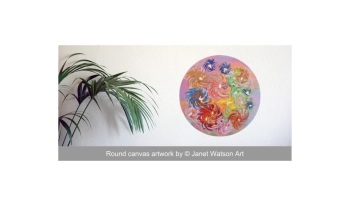 Cup of Flowers - 30cm Round Canvas- Acrylic and mixed media - Spinning Flowers Collection - Original Art by (c) Janet Watson Art