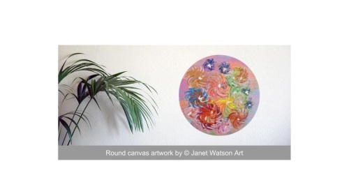 Cup of Flowers - 30cm Round Canvas- Acrylic and mixed media - Spinning Flow