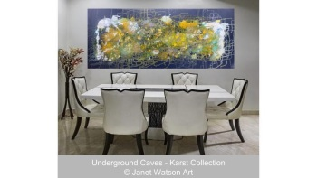 Golden White Opaque Quartz - Underground Caves Collection - Original Art - Acrylic and Mixed media Size; 120 x 50 x 2 cm by (c) Janet Watson Art