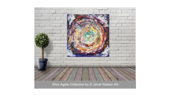 Rainbow Circle of Life - 60 x 60 cm - Original art - Slice Agate Collection by Janet Watson Art