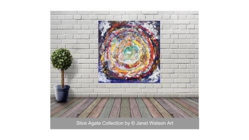 Rainbow Circle of Life - 60 x 60 cm - Original art - Slice Agate Collection