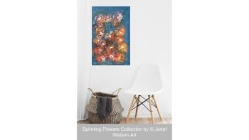 Fireworks Flowers - Spinning Flowers Collection - 40 x 60 cm - Original Art by (c) Janet Watson Art