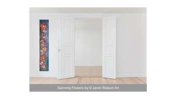 String of Flowers - Original Art - Spinning Flowers Collection - Acrylic and mixed media by (c) Janet Watson Art